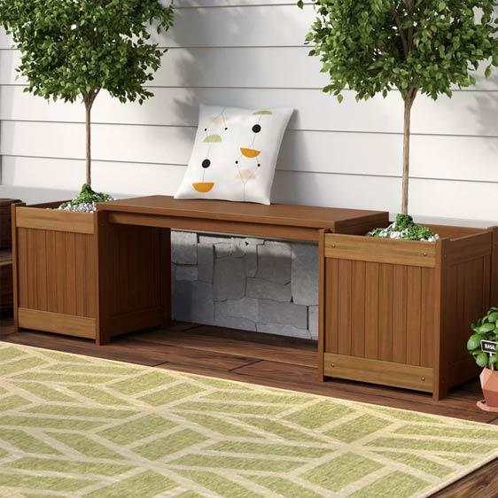 Arianna Wooden Planter Bench