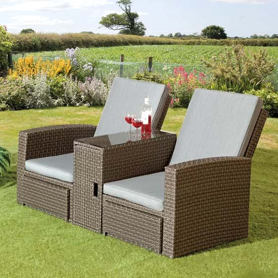Inouye 2 Seater Rattan Effect Conversation Set