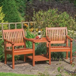 Mayela Wooden Love Seat