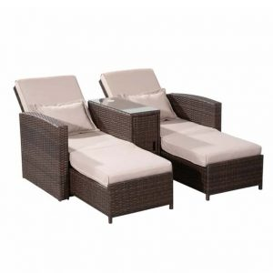 Cushioned Sun Lounger with Table